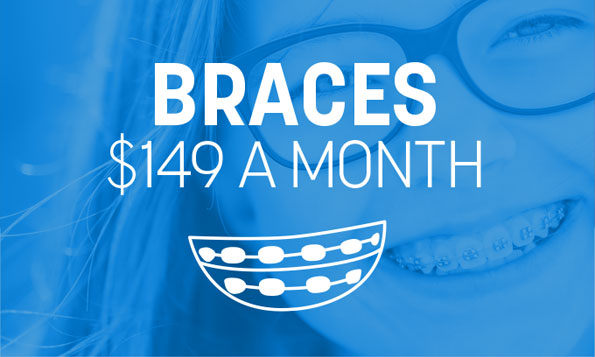 A young lady with braces smiles under a special offer on braces at Lovett Dental Sharpstown