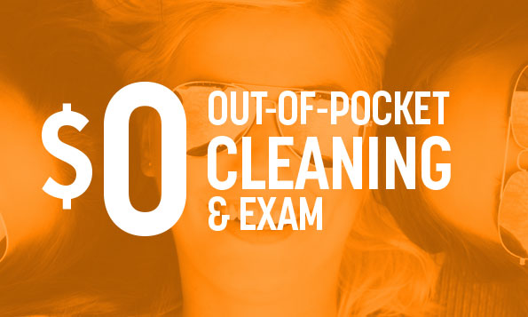 Our of pocket cleaning and exam special offer over three friends smiling