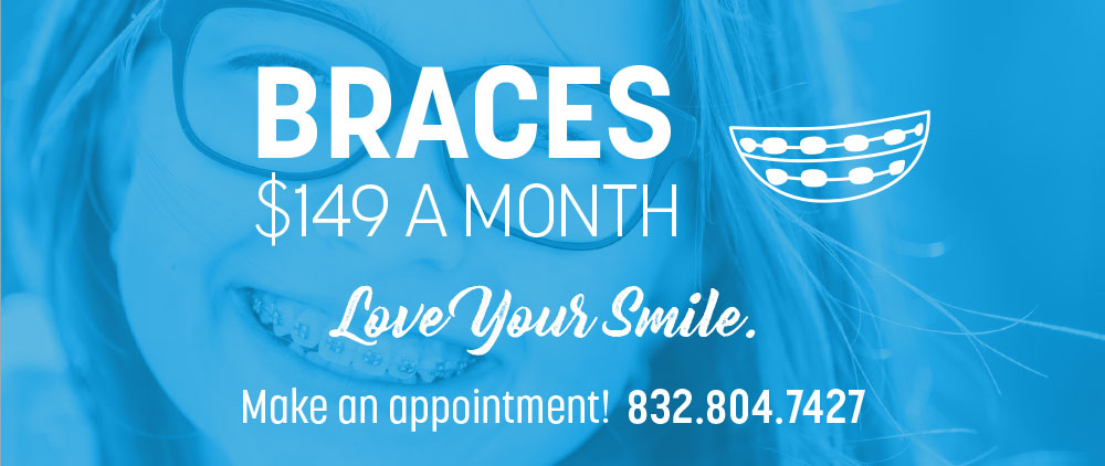 Braces special offer at Lovett Dental Sharpstown over an image of a girl with braces
