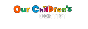 "Pediatric dentistry in Sharpstown, TX logo that reads ""our children's dentist"" over a transparent background"