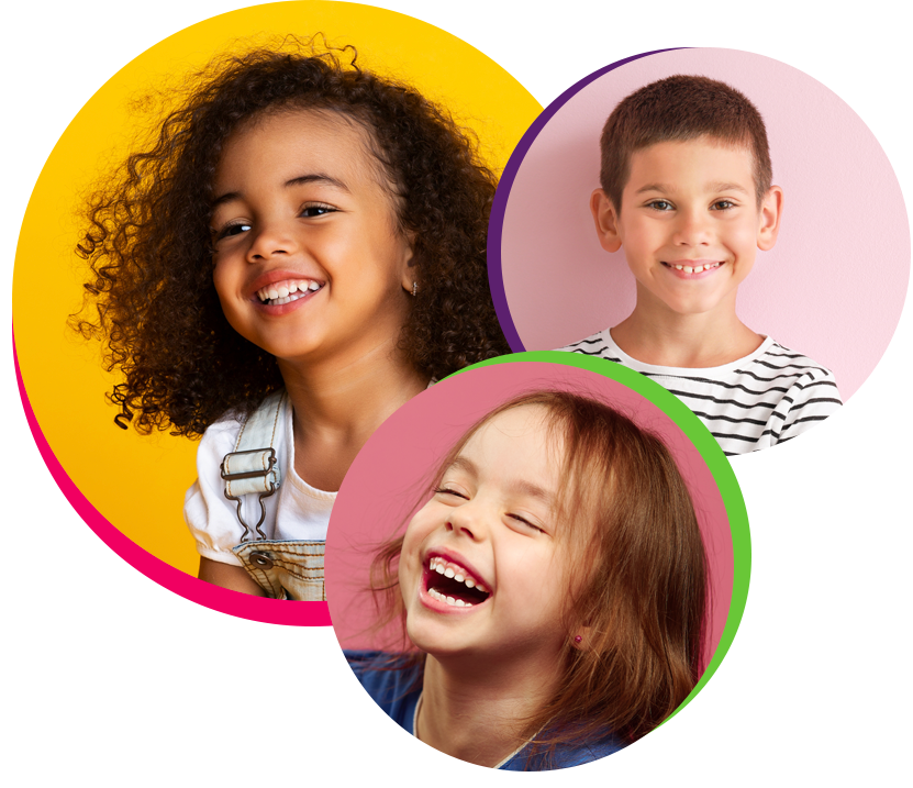 Three children smile happily after attending pediatric dentistry in Sharpstown TX